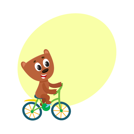 Cute little bear character riding bicycle, cycling, cartoon vector illustration with space for text. Little baby bear animal character riding bike, bicycle, cycling happily