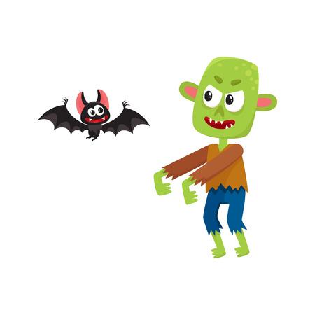 Halloween monsters - green zombie and vampire bat, cartoon vector illustration isolated on a white background. Green monster, zombie and vampire bat, traditional Halloween symbol Иллюстрация