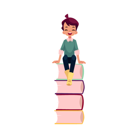 vector cartoon teenage man, schoolboy laughing, sitting at big pile of school books. Flat isolated illustration on a white background. Back to school concept Illustration