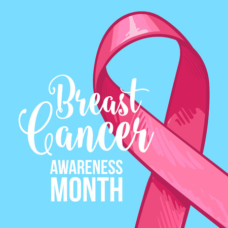 Breast cancer awareness month banner, poster, template with hand drawn pink ribbon, sketch vector illustration. Hand drawn pink ribbon, breast cancer awareness month campaign banner, poster, card