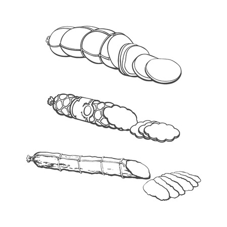 vector sketch chorizo sausage with slices, boiled sausage and salami set. Cartoon isolated illustration on a white background. Sausage and meat types concept