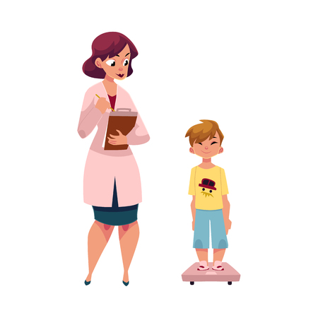 Young woman doctor, pediatrician measuring weight of boy child, kid, cartoon vector illustration isolated on white background. Cartoon woman doctor, pediatrician and boy, kid standing on weight scale
