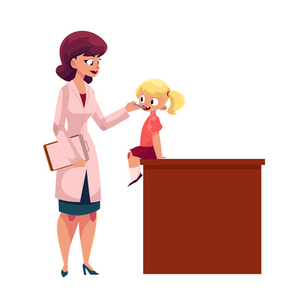 Young woman doctor, pediatrician, otolaryngologist checking little girl throat, cartoon vector illustration isolated on white background. Doctor pediatrician, otolaryngologist checking girl throat