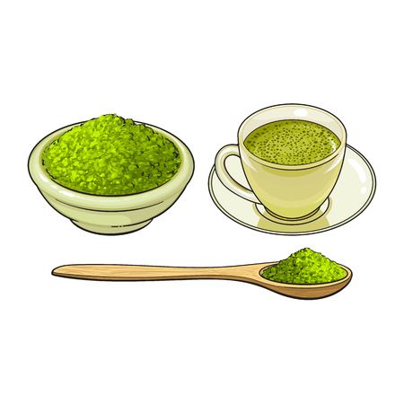 vector sketch cartoon hand drawn ceramic bowl of green mathca tea powder, bamboo spoon and cup of tea set. Isolated illustration on a white background. Traditional tea ceremony attribute, symbol