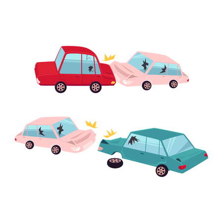 vector flat cartoon car crash, accident set. One vehicle lost its wheel, and both have dents, broken glasses, scratches. Isolated illustration on a white background. Illustration