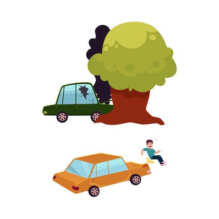 ベクトル フラット車事故セット。緑色のひびの入った窓からす車、木に墜落したボンネットから黒い煙来る、車が歩行者を打ちます。白い背景に分