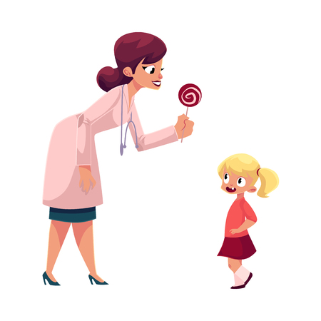Young woman doctor, pediatrician in stethoscope giving lollipop candy to little girl, cartoon vector illustration isolated on white background. Woman doctor pediatrician giving lollipop to little girl