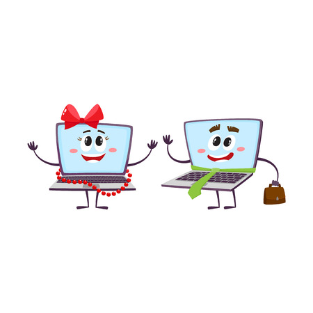 woman laptop: vector flat cartoon funny laptop humanized female girl character wearing red bow and beards smiling and notebook male with handbag and necktie. Isolated illustration on a white background.
