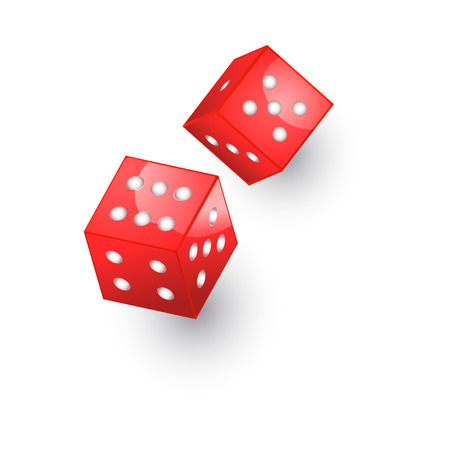 vector flat cartoon casino dotted red color dice cubes. Isolated illustration on a white background. Symbol of gambling game, risk , chances. Profit and money Иллюстрация