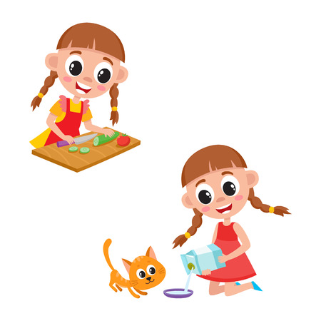Little girl cooking salad and giving milk to her cat, cartoon vector illustration isolated on white background. Cartoon girl cooking vegetables and feeding cat, pouring milk into bowl