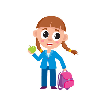 Full length portrait of cute little girl with backpack dressed for school, cartoon vector illustration isolated on white background. Cartoon little girl ready for school, full length portrait