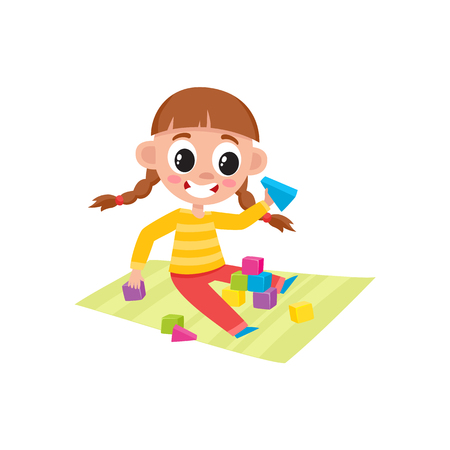Little girl playing with wooden blocks, cubes and pyramids, sitting on the floor, cartoon vector illustration isolated on white background. Cartoon little girl playing with toy blocks Иллюстрация