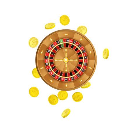 벡터 평면 만화 도박 미국, 유럽 룰렛 주위 황금 동전 바퀴입니다. 흰색 배경에 고립 된 그림입니다. 이익, 쉬운 돈의 기호입니다. 대성공, 빙고 카지노