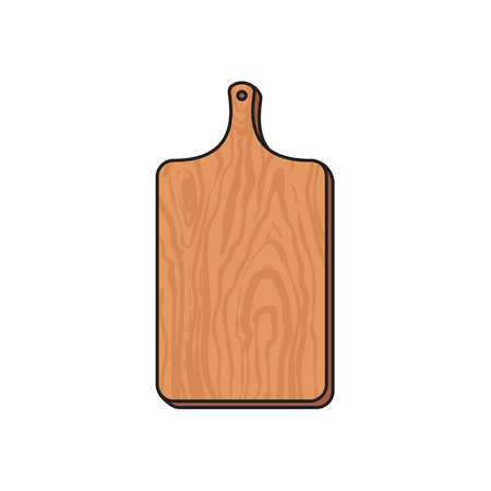 vector wooden sketch cartoon empty kitchen cutting board isolated illustration on a white background. Kitchenware equipment utensil objects concept