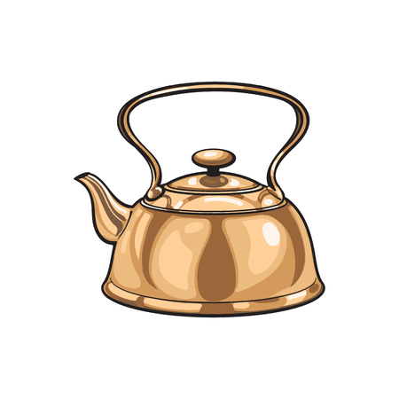 kitchen appliances: vector metal bronze kettle, teapot sketch cartoon isolated illustration on a white background. Kitchenware equipment utensil objects concept Illustration