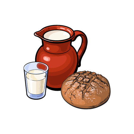 vector sketch cartoon glass of milk and ceramic pitcher jug, crock and loaf of round dark bread. Isolated illustration on a white background. Healthy food dairy products, natural dieting concept Ilustração