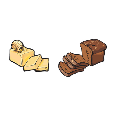 벡터 스케치 조각 및 곱슬, 버터 평방 만화 빵 잎 집합의 만화 막대 만화. 흰색 배경에 고립 된 그림입니다. 건강 식품 유제품, 자연 다이어트 개념 일러스트