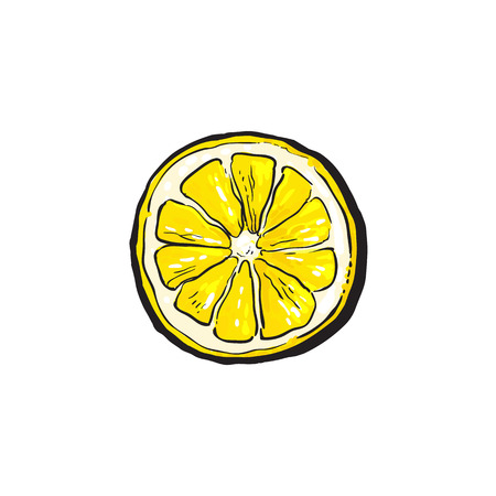 vector sketch cartoon colorful half of ripe lemon, sliced fruit object. Isolated illustration on a white background. Fresh juicy cirtus closeup. Healthy organic food full of vitamins, nutrients