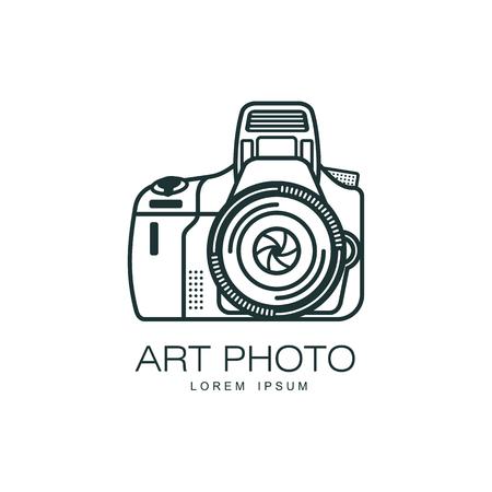 벡터 아트 사진 카메라 아이콘입니다. 흰색 배경에 평면 만화 격리 된 그림. 사진 스튜디오를위한 로고 브랜드 컨셉