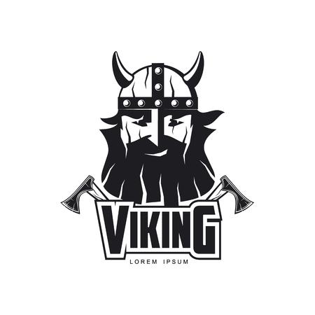 vector vikingen pictogram logo sjabloonontwerp eenvoudige platte geïsoleerde illustratie op een witte achtergrond. Assen en man in helm met snor en baard brutaal portret beeld Stock Illustratie