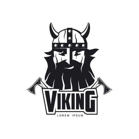 vector vikings icon logo template design simple flat isolated illustration on a white background. Axes and man in helmet with mustache and beard brutal portrait image