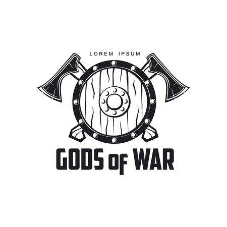vector vikings gods of war icon logo template design simple flat isolated illustration on a white background. Axes and shield with pattern image
