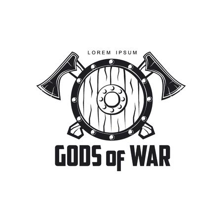 vector vikingen goden van oorlog pictogram logo sjabloonontwerp eenvoudige platte geïsoleerde illustratie op een witte achtergrond. Assen en schild met patroonbeeld Stock Illustratie