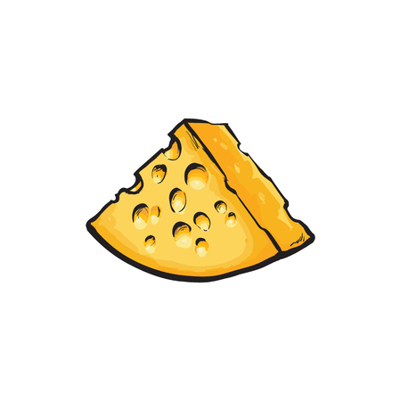 Vector sketch cartoon piece of yellow porous cheese with holes Isolated illustration on a white background. Healthy food dairy products, natural dieting concept