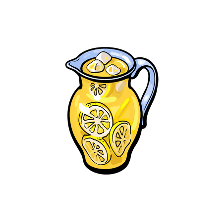 vector sketch cartoon lemonade glass jug, pitcher with handle. Isolated illustration on a white background. Fresh juicy cirtus drink. Healthy organic beverage full of vitamins, nutrients