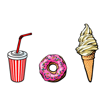 Vector sketch ice cream waffle cone, donut with pink glaze icing, disposable soft cold drink cup with lid and straw set. Hand drawn cartoon isolated illustration on a white background.