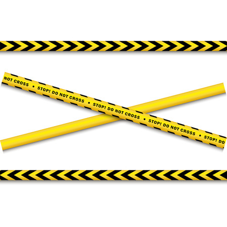 murder scene: vector yellow black police tape set. Flat cartoon isolated illustration on a white background. Yellow danger tape with black stripes enclosing for forencics, investigators. One blank tape for text