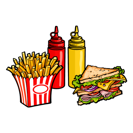 Vector sketch sandwich with vegetables, mustard sauce, ketchup squeeze bottles, potato fry, french fries on striped paper box . Fast food flat cartoon isolated illustration on a white background. Illustration