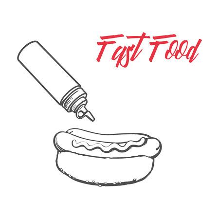 Vector Skizze Wurst Hot Dog mit Senf Sauce, Ketchup Squeeze Flaschen gesetzt. Fast Food Hand gezeichnet Cartoon isoliert Illustration auf einem weißen Hintergrund. frisches Sandwich mit Sauce und Salat Standard-Bild - 84861836