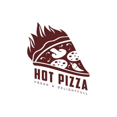 Vector pictogramme d'icône chaude pizza plate slice. Illustration isolée sur fond blanc Pizzaria, marque de l'entreprise de livraison, logo prêt à utiliser. Objet de décoration de restaurant, menu de café Banque d'images - 84861839