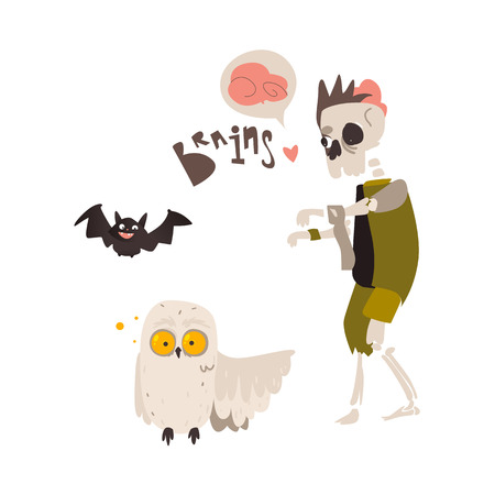 Spooky zombie skeleton monster in rags and crazy looking owl, Halloween objects, cartoon vector illustration isolated on white background. Monster, zombie, skeleton walking dead and owl spirit Иллюстрация