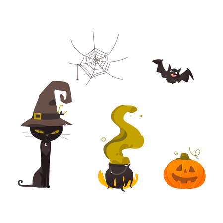 Halloween objects - black cat in witch pointy hat, spider web, pumpkin lantern, cauldron on fire, cartoon vector illustration isolated on white background. Cartoon set of Halloween objects