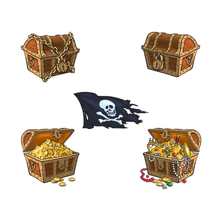 vector wooden treasure chest, skull cross bones flag set. Isolated illustration on a white background. Opened, full of gold, closed and chained cartoon symbol of adventure, pirates, risk jolly roger. Ilustração