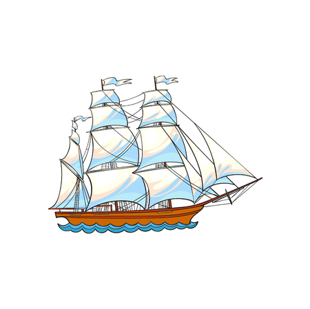 Beautiful sailing ship, sailboat, hand drawn, sketch style cartoon vector illustration isolated on white background. Hand drawn cartoon vector illustration of sailing ship, sailboat with white sails Ilustracja