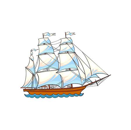 Schönes Segelschiff, Segelboot, Hand gezeichnet, Skizzenart-Karikaturvektorillustration lokalisiert auf weißem Hintergrund. Hand gezeichnete Cartoon-Vektor-Illustration von Segelschiff, Segelboot mit weißen Segeln