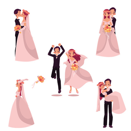 Set of wedding couple, bride and groom, hugging, kissing, celebrating, cartoon vector illustration isolated on white background. Wedding couple set, hugging and kissing, throwing flowers, being happy Illustration