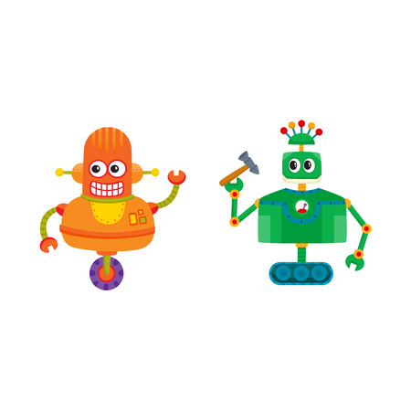 vector flat cartoon funny repairing robots set. Cute humanoid male characters with wrench, hummer - arms and wheel, crawler track - legs smiling. Isolated illustration on a white background. Illustration