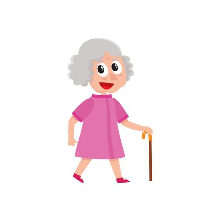 Vektor erwachsene grauhaarige Frau geht glücklich hält Stock in der Hand. Flache Karikatur lokalisierte Illustration auf einem weißen Hintergrund Standard-Bild - 84899604
