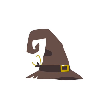 Old, shabby, worn out witch, wizrd pointed hat, Halloween decoration element, cartoon vector illustration isolated on white background. Cartoon old witch hat, Halloween object, decoration element
