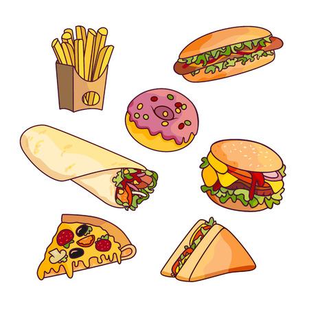Vector burger pizza plasterek, rolnik doner kebab ziemniaczany fry kanapki pączki zestaw. Fast food płaskie kreskówki wyizolowanych ilustracji na białym tle.