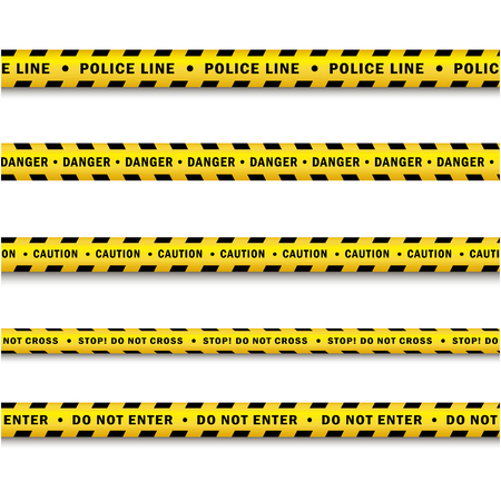 vector yellow black police tape set. Flat cartoon isolated illustration on a white background. Yellow danger tape with black stripes enclosing for forencics, investigators. Ilustrace