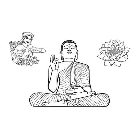 buddha lotus: vector sketch cartoon eastern, oriental statue of sitting in Lotus posture Budda, local woman collecting tea, lotus flower set. Isolated illustration on a white background. Hand drawn Sri-lanka symbol