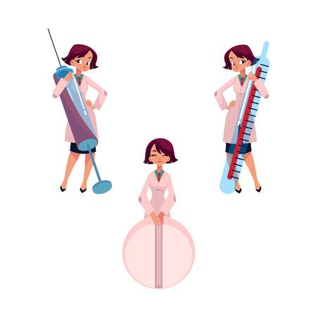 巨大な温度計、注射薬は、白い背景で隔離の漫画ベクトル図と若い女医。巨大なオブジェクト - 体温計、注射器、薬と漫画女医
