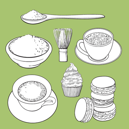Set of matcha powder, wooden spoon and whisk, tea and latter cup, cupcake, macaroni, sketch vector illustration isolated on green background.