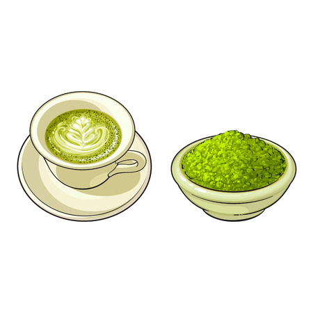 vector sketch cartoon hand drawn ceramic bowl with powder and cup of green mathca tea top view set. Isolated illustration on a white background. Traditional tea ceremony attribute, symbol