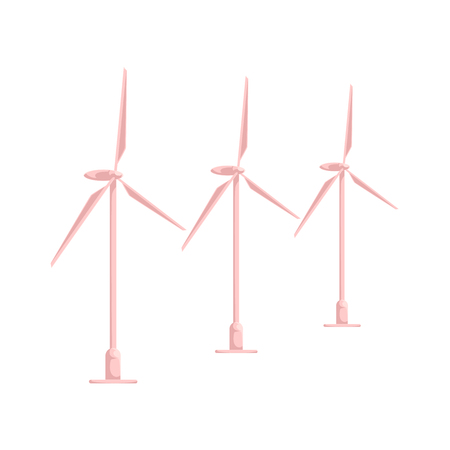 vector flat cartoon wind power station. Windmill turbines, resource of renewable, ecological friendly electricity generation. Isolated illustration on a white background.